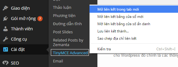 Cài đặt plugin TinyMCE Advanced