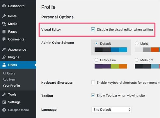 Disable Visual Editor WordPress