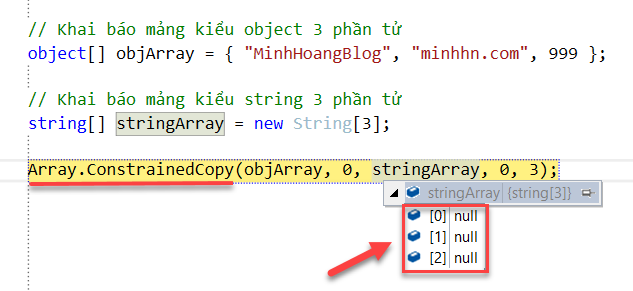 Result run method Array.ConstrainedCopy