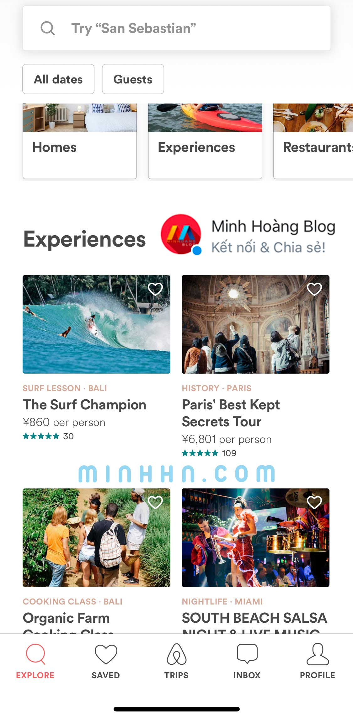 Giao diện của app Airbnb